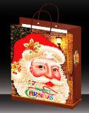 Sac de papier estampé par coutume pour le shopping en ligne d'usine de marque de sac à provisions de festival d'emballage de cadeau de Noël