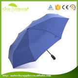 Guarda-chuva ao ar livre azul do presente com os 2 reforços da fibra de vidro da seção 1 metal da seção
