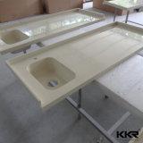 Pierre artificielle solide blanc la vanité de surface pour salle de bains