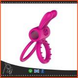 Os produtos do sexo Dual brinquedos de vibração do sexo do anel da torneira da ejaculação do atraso do anel do pénis do silicone do vibrador da bala do pénis do anel da torneira para homens