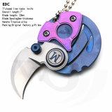 """1.7 """" закрыли нож ручки сплава замка Tc4 вкладыша Titanium с лезвием помытым камнем: EDC"""