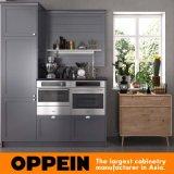 Gabinete de cozinha branco e cinzento moderno do abanador com núcleo da porta do MDF (OP17-PVC04)
