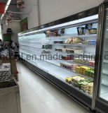 Refrigerador vertical aberto do especialista das técnicas mercantís da cortina de ar do supermercado