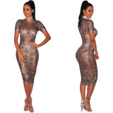 Medio de tejidos de moda mujer sexy vestido transparente para el Club