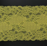 装飾するか、または衣服のアクセサリのための中国の黄色の伸張のレースファブリック