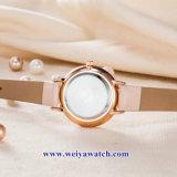 Custom Mesdames montres à quartz de cuir wist, femme de regarder en alliage (WY-17047)