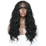 Perruque synthétique ondulée de cheveu de noir moyen de pièce de mode de Dlme