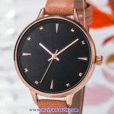 Señora Quartz Wist Watch, relojes de señoras (WY-17028A) de la correa de cuero del OEM