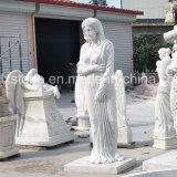 Het witte Marmer Gesneden Standbeeld van de Vrouw voor OpenluchtDecoratie