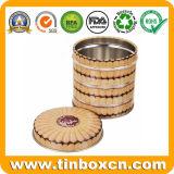 طعام آمنة مستديرة معدن قصدير علبة لأنّ بسكويت كعك وجبة خفيفة