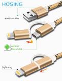 2 em 1 cabo de dados trançado do carregador do USB do nylon para o Android e o iPhone