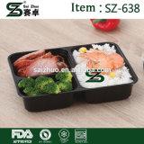 3 contenitore di alimento a gettare di plastica dello scompartimento pp Microwavable, casella di pranzo di memoria