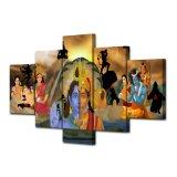HD Druck 5 PCS-Wand-Kunst-Farbanstrich Hanuman und Shiva Indien Buddhismus Ganesha Segeltuch-Malleinwand-Ausgangsdekor-Wand-Kunst