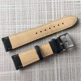 Substituição almofadada preta faixa de relógio de couro