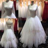 Nervurage lourd réel manches longues robes de mariage robe de bal robes de mariée