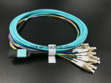 Asamblea de cable óptica del desbloqueo o del Fanout de MPO-LC MPO para la red óptica del acceso