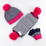 Do lenço unisex do Beanie da torção POM POM do cabo do inverno das meninas 3PC das crianças do bebê dos miúdos o lenço longo do chapéu da tampa da aleta das luvas ajustou-se (SK403S)
