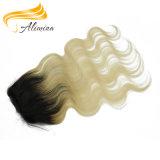 Fechamento reto natural colorido livre do laço do cabelo de Remy do emaranhado