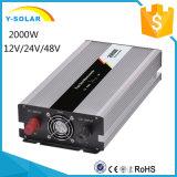 2000W 12V/24V/48VのDC入力110V/220V AC出力格子タイインバーターを離れた純粋な正弦波