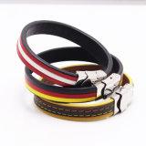 Form-kühles handgemachtes echtes Leder-Edelstahl-Haken-Armband