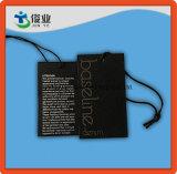 Linha baixa Hangtag do preto do vestuário com corda