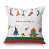 De vrolijke Katoenen van Kerstmis Linnen Geweven Afgedrukte Dekking van het Kussen voor Koffie (35C0176)