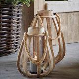 Lanterne en bois de grande forme rustique de potiron