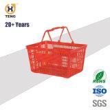 Xj-12 Plástico de supermercado cesto de compras com pega e Rodas