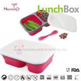 Container 24.5*17.5*7cm van het Voedsel van de Doos van de Lunch van het Silicone van de Rang van het voedsel Opvouwbare