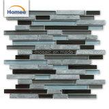 Mattonelle di mosaico di vetro nere di pietra grige per la pavimentazione in parete della stanza