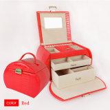 宝石類の記憶のための赤いPUの美しい箱の化粧品または化粧品の虚栄心の箱