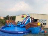 Slag van de Verkoop van de zomer de Hete - omhoog het Opblaasbare Park van het Grondwater met de Apparatuur van de Pool en van de Dia voor de Blauwe Pool van de Verkoop