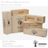 Casella di legno di Hongdao, contenitore di legno su ordine di vino con il commercio all'ingrosso stampato della casella di legno di marchio