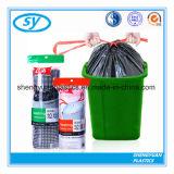 Sac d'ordures en plastique de cordon de HDPE de qualité