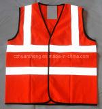 Красная отражательная тельняшка с отражательными прокладками (vest-1)