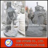 Granito de piedra gris de la sirena que talla la estatua de la escultura