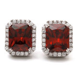 Almofada Ruby Stone 925 Sterling Silver Stud Earrings Jóias