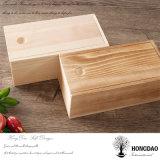 Hongdao inacabada personalizados de madera de pino de embalaje del Vino de regalo Caja tapa deslizante _E