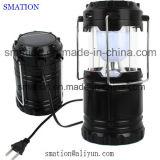 Lanterna di campeggio solare autoalimentata solare della plastica LED della torcia elettrica ricaricabile della torcia