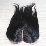Chiusura brasiliana dei capelli di Remy della parte centrale diritta 4*4