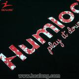 Magliette di seta degli uomini della stampa di colore del nero di usura di sport della gioventù di Healong