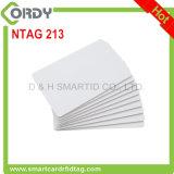 Tarjeta en blanco imprimible blanca del PVC 13.56MHz NTAG213 NFC