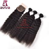 Естественные перуанские Kinky прямые волосы девственницы закрытия b купели шнурка