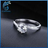 Intorno all'argento sterlina di Zirconia cubico bianco brillante del taglio di 8mm sei poli che impostano l'anello di modo