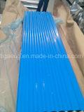 Placa de aço colorida corrugada/trapezoidalmente/vitrificada de baixo custo de PPGI/PPGL de telhadura para Tanzânia