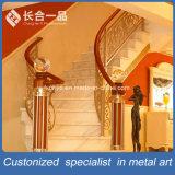 Personnalisé de l'or en bronze de luxe en acier inoxydable de rampe d'escalier pour l'intérieur