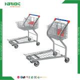 Cargo del almacén de la base plana del supermercado que transporta la carretilla
