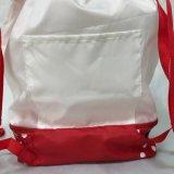 Saco para roupa suja de poliéster promocional mochila Saco de Seqüência de Nylon dobrável