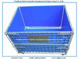 Recipiente dobrável & Stackable galvanizado do engranzamento de fio do armazenamento do armazém