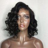Perruque synthétique latérale de cheveu d'onde courte de noir de pièce de Dlme